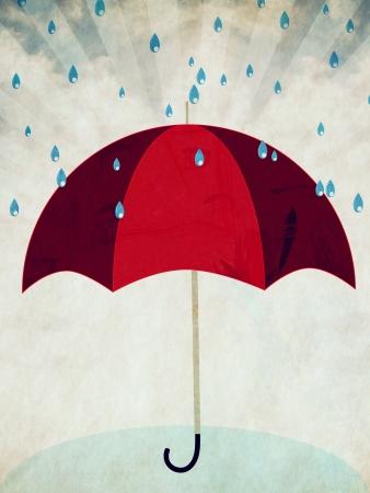 rain storm: Cartoon red umbrella under rain on grunge blue background.