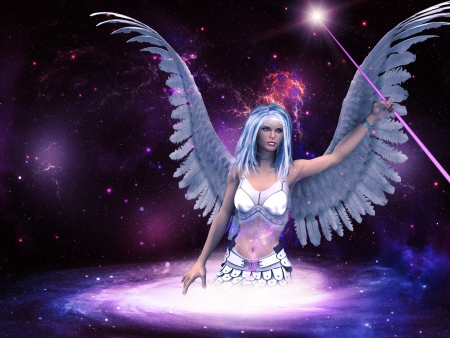 Female angel with purple stick in the space background. photo