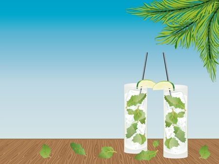 mohito: Illustration of fresh mojito drink on the wooden table. Illustration