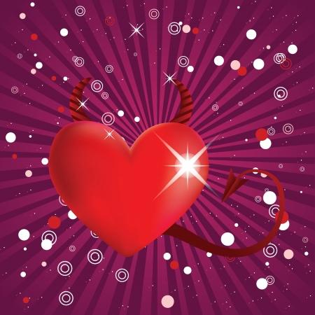 infernal: Valentine shiny red devil heart on dark pink background.