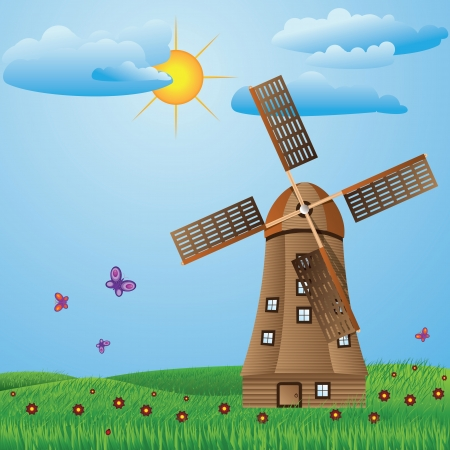 Green meadow with old windmill, clouds, flowers and butterflies. Vector