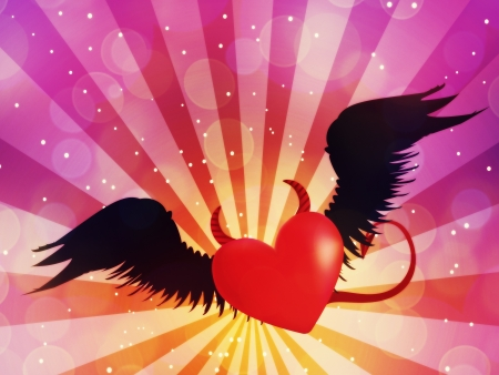 devil ray: Valentine red heart with black angel wings on background with rays.