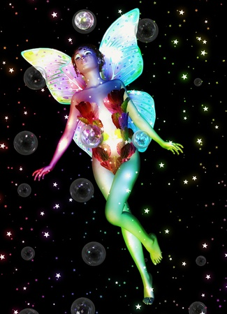 light complexion: 3d magical fairy girl with soap bubbles and stars.