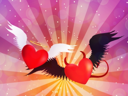 Valentine red hearts with angel wings on background with rays. Stock Photo