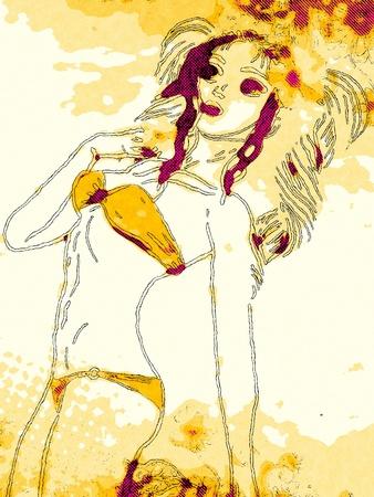 Cartoon girl in bikini with flower in grunge retro halftone style. photo