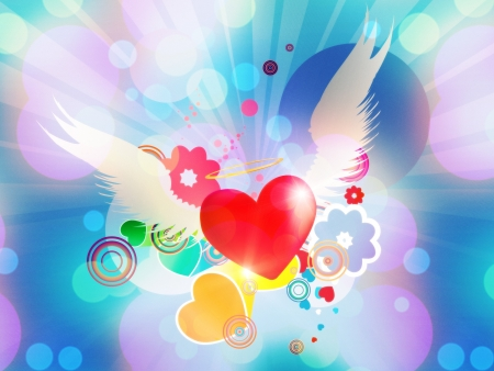 feeling: Valentine red heart with white angel wings on blue background. Stock Photo