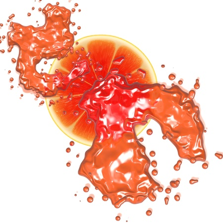 Grapefruit slices with splash isolated on white background. photo