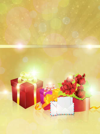 Shiny yellow background, red gift boxes and two envelopes. photo
