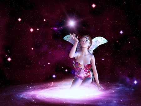 Beautiful magic fairy on colorful space background. photo