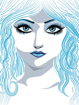 abstract portrait: Abstract portrait of a beautiful winter girl with blue hair.