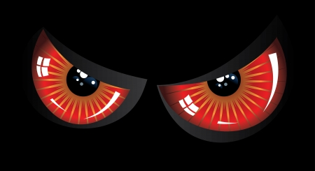 Cartoon evil red eyes on black background. Vector