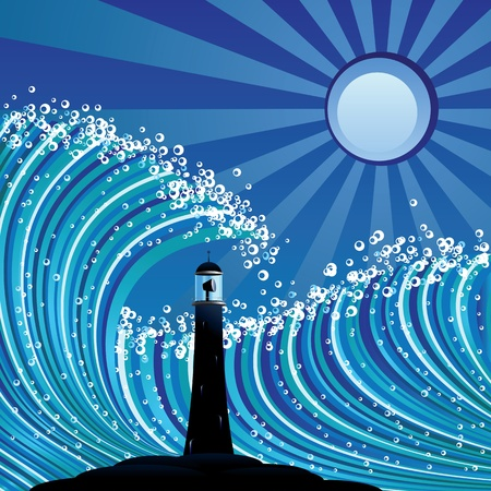 Abstract illustration of lighthouse silhouette in the sea. Vector
