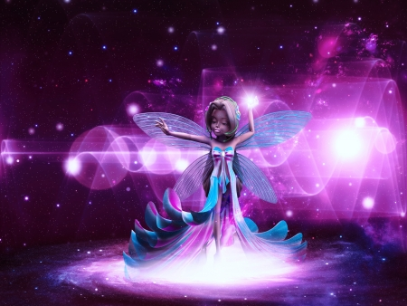 Beautiful magic fairy on colorful space background. Stock Photo - 20932285