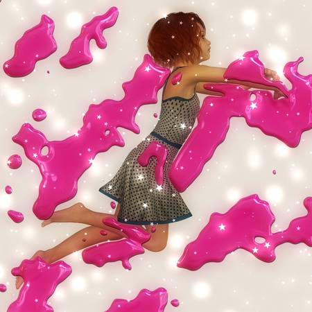 3d girl in a jump with pink paint spray background. photo
