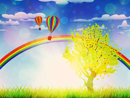 Green grass field with a tree, rainbow and hot air balloons in the sky. Stock Photo - 20933726