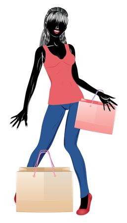 ふだん着: カジュアルな服装に買い物袋の少女のシルエット。  イラスト・ベクター素材