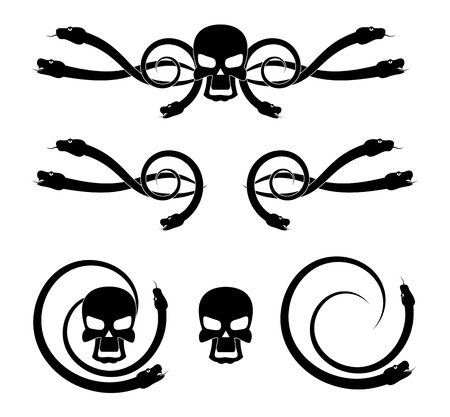 Abstract cartoon skull with snakes in black and white.