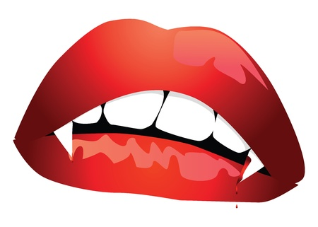 fangs: Illustration of vampire lips with blood on white background. Illustration