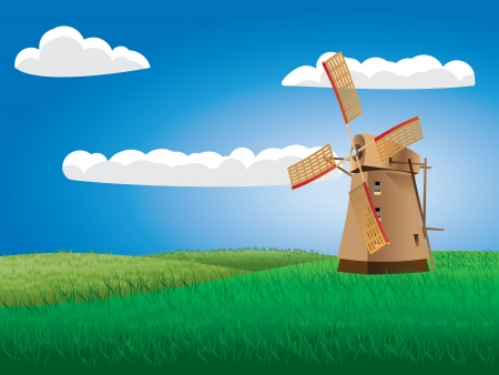 Summer landscape with windmill on grass field background. Stock Vector - 21043465