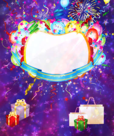 Holiday background with colorful balloons and gift boxes. photo