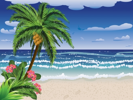 Summer beach with palm tree, flowers and blue sea.