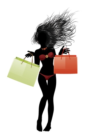 Silhouette of a girl in red bikini with shopping bags. Vector