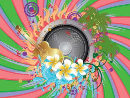 Abstract colorful tropical musical party poster with speaker and guitar. Stock Vector - 21165712