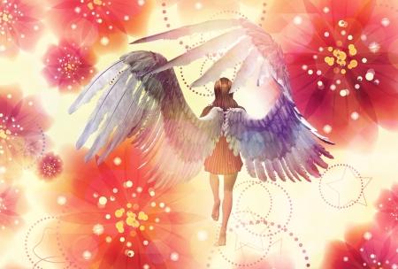 3d meisje met engelenvleugels op grunge floral achtergrond.