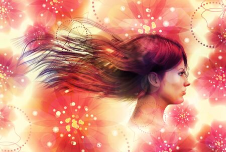 Beautiful 3d girl on colorful floral background with abstract flowers. photo