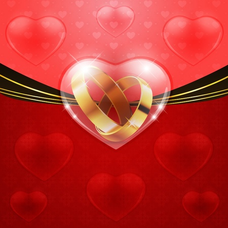 assent: Two golden wedding rings in glass heart on red background.