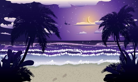 Tropical beach at night and crescent moon in the sky. Ilustração