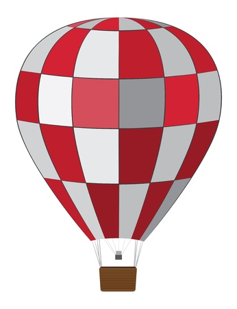 aerostat: Hot air balloon of red and white colors illustration.