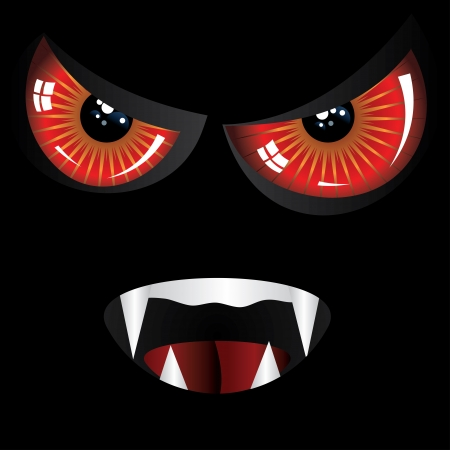 Danger evil face with red eyes and fangs on black background. Vector