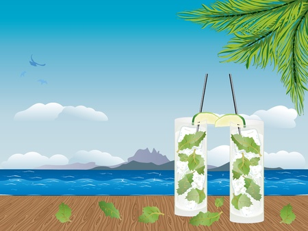 Illustration of fresh mojito drink on the wooden table. Vector