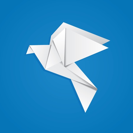 origami bird: White folded paper, origami pigeon on blue background.