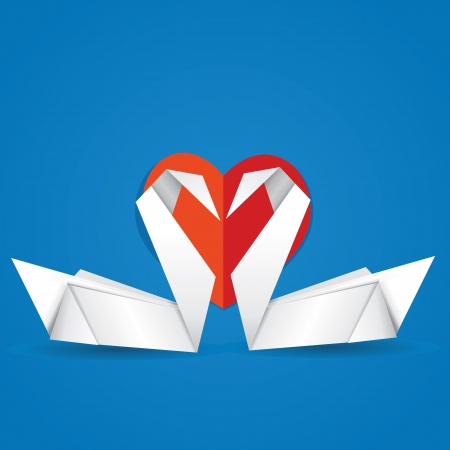 Two white paper swans and red heart on blue background. Stock Vector - 21545975