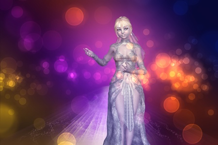 perls: Beautiful 3d girl in fantasy wedding dress on abstract background.