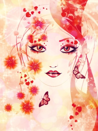 Fantasy portrait of a girl with floral in red color on abstract background. photo