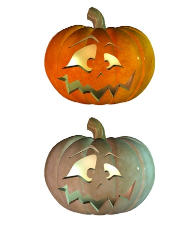 Digitally rendered image of halloween pumpkin on white background. photo