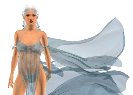 transparent dress: Digitally rendered image of a woman in fluttering dress on white background.