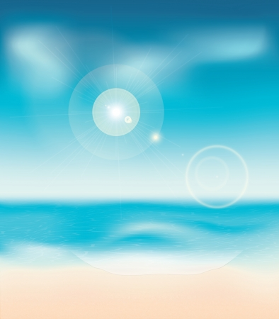coastlines: Summer beach background with water and blue sky.