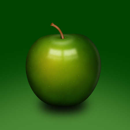 Background with abstract glossy green apple illustration. illustration