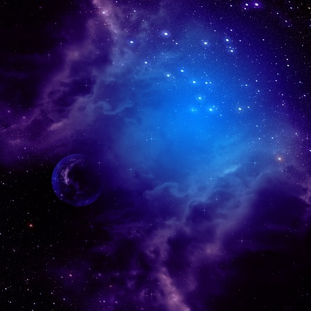 astro: Purple space clouds and stars abstract background. Stock Photo