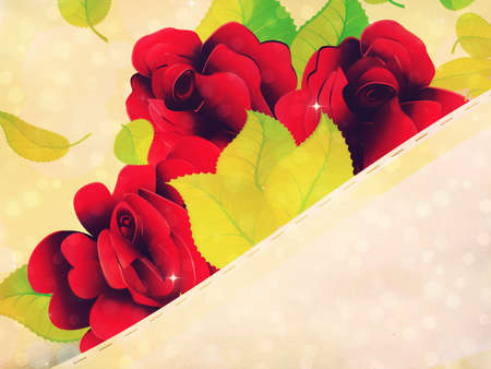 Soft yellow background with ribbon and red roses, green leaves. photo