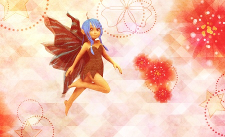 Cute fairy on grunge background with abstract flowers. photo