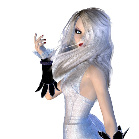 Digitally rendered image of a witch in white dress background. photo
