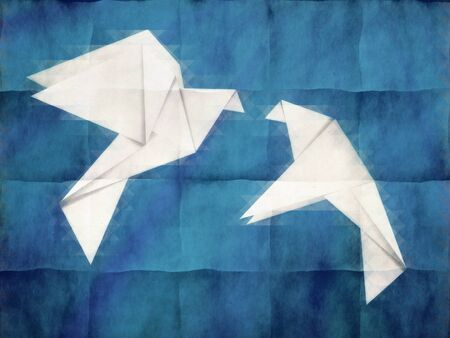 Two white origami pigeons on grunge blue background. photo