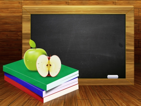 Blackboard, school books and apples on wood background. photo