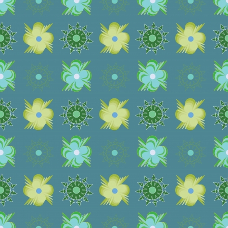 Pattern with abstract green flowers on blue background. Vector