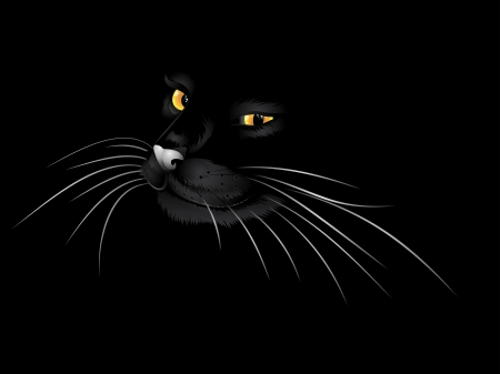 Cartoon cat with yellow eyes on black background. Vector
